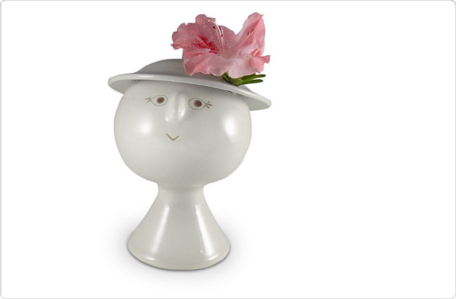 Flower Head Vase with Hat